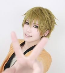 Free! Iwatobi Swim Club Tachibana Makoto green yellow mixed short layered cosplay wig. SP21