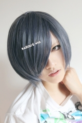 Black Butler / Kuroshitsuji Ciel Phantomhive short straight smooth gray blue blended cosplay wig with bangs. SP29