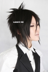 Black Butler/ Kuroshitsuji Sebastian Michaelis short layers black spikes Cosplay Wig with long sides hair . KA032