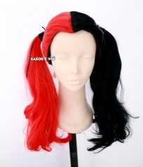 "43cm / 16.5"" Harley Quinn red black spilt cosplay wig"