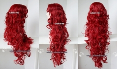 "90cm / 35.5"" crimson red long curly side part bangs long wig poison ivy . women wig . SP28"