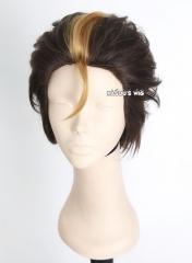 Haikyuu !! Nishinoya Yuu all back dark brown layers cosplay wig with highlighted blonde hair. KA030