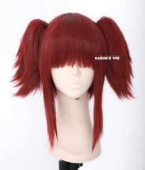 Black Butler / Kuroshitsuji Mey Rin dark red cosplay wig .neat bangs with 2 layers fluffy clips . lolita hair