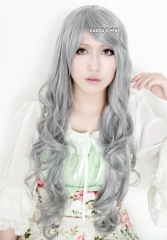 "90cm / 35.5"" Black Butler .  Kuroshitsuji Queen Victoria long gray body wave cosplay wig . curly wig lolita"