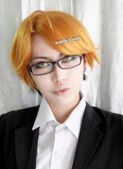 Black Butler/ Kuroshitsuji Ronald Knox golden black ombre multi colors side parted short cosplay wig with ahoge