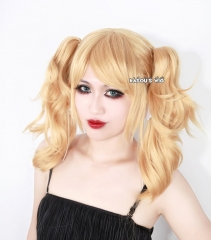 Harley Quinn blonde cosplay wig with two curly clips . lolita hair ( KA012)
