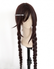 "100cm / 39.5"" Dangan Ronpa Fukawa Touko long braids dark brown cosplay wig with long bangs"