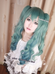 Vocaloid Hatsune Miku Rondo of the Sun and Moon version turquoise blue omber .85cm long curly. wave cosplay wig . lolita .