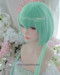 RWBY Emerald Sustrai mint green pre-cut bob cosplay wig with long hair in the back
