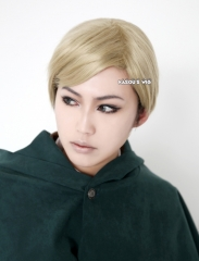 Attack on Titan Shingeki No Kyojin Erwin Smith short ash blonde side-parted cosplay wig