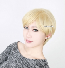 Sailor Moon Sailor Uranus Haruka Tenoh side parted pale sand blonde short curly cosplay wig