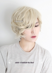 Touken Ranbu 刀剣乱舞 五虎退 Gokotai short light cream blonde curly cosplay wig .cute wig . SP17