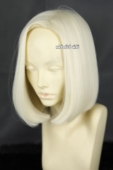 Dragon Ball Android 18 side parted parted pre cut straight smooth light blonde cosplay wig . KA067