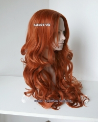 Bat Girl 80cm long side-parted orange brown auburn body wave cosplay wig . suitable for daily wear