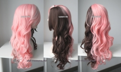 RWBY NEO pink brown split body wave cosplay wig .70cm long