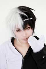 Danganronpa monokuma short layers black white ombre cosplay wig