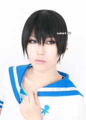 Free! Iwatobi Swim Club Haruka Nanase short smooth black cosplay wig with bangs . daily hair