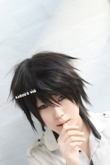 Death Note L Ryuuzaki short black layers spiky cosplay wig customs men wig. KA032