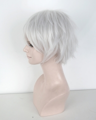 "S-1 / KA002 >> 31cm / 12.2"" short silver white layered wig, easy to style,Hiperlon fiber ,"