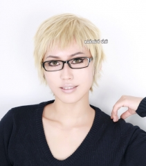 Haikyuu !! Tsukishima Kei / One Punch Man Genos short pale blonde layers cosplay wig with short bangs