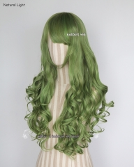 L-1 / KA061 moss green 75cm long curly wig . Hiperlon fiber