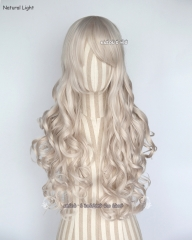 L-1 / SP05 pearl white 75cm long curly wig .Tangle Resistant fiber