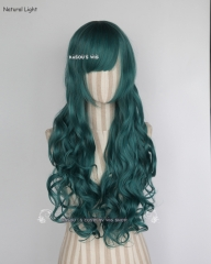 L-1 / KA064 dark green 75cm long curly wig . Hiperlon fiber .
