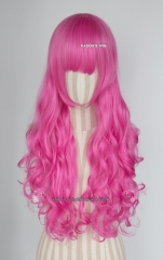 L-1 / KA035 deep pink 75cm long curly wig . Hiperlon fiber