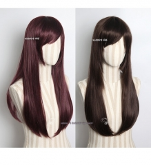 Overwatch D.Va 70cm long straight cosplay wig . brown / reddish brown . 2 colors available