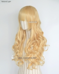 L-1 / SP01 pastel yellow blonde 75cm long curly wig . Tangle Resistant fiber