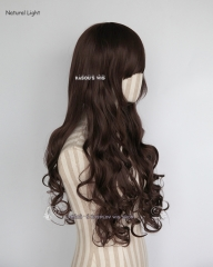 L-1 / SP07  brown 75cm long curly wig . Tangle Resistant fiber