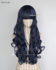 L-1 / KA051 navy blue 75cm long curly wig . Hiperlon fiber
