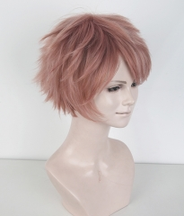 "S-1 / KA037 >>31cm / 12.2"" short dusty pink layered wig, easy to style,Hiperlon fiber"