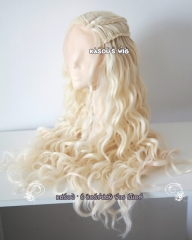 Lace Front>>> Daenerys Targaryen Game of thrones / A Song of Ice and Fire pale blonde curly cosplay wig 80cm SP25