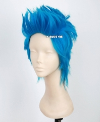 One Piece Franky short layers blue cosplay wig ( KA047 )