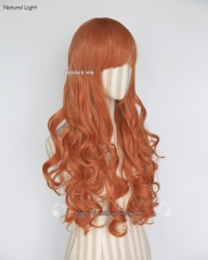 L-1 / SP15 orange 75cm long curly wig . Tangle Resistant fiber