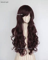 L-1 / KA058 dark reddish brown 75cm long curly wig . Hiperlon fiber .