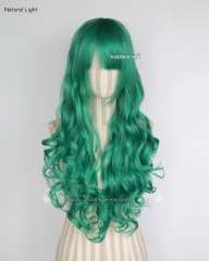 L-1 / KA062 emerald green 75cm long curly wig . Hiperlon fiber