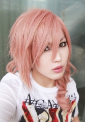 Final Fantasy XIII / FF13 Lightning 50cm long curly Pink Yellow mixed long cosplay Wig