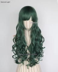 L-1 / KA065 dark olive green 75cm long curly wig . Hiperlon fiber .