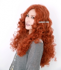 Disney Movie Brave princess Merida Auburn long curly cosplay wig