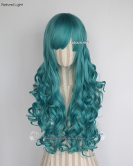 L-1 / KA059 teal blue green 75cm long curly wig . Hiperlon fiber .