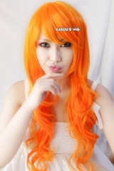 One Piece Nami 2 years 78cm long body wavy / curly orange cosplay wig . lolita wig
