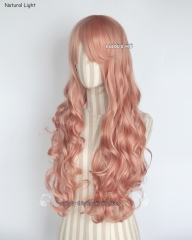 L-1 / SP22 coral pink 75cm long curly wig . Hiperlon fiber