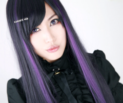 SALE! Black purple long straight cosplay wig with highlighted purple cosplay wig . short bangs . Monslter High Elissabat