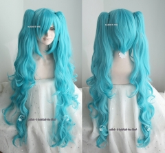 "[ 2 colors ] 90cm / 35.5"" Vocaloid Hatsune Miku long blue .teal 2 ponytails wavy curly cosplay wig .lolita hair"