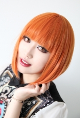 Uta No Prince Sama Nanami Haruka short smooth straight orange bob cosplay wig with neat bangs . lolita wig
