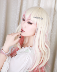 Nitro+ Super Sonico.Macross Frontier  Sheryl Nome body wave cosplay wig blonde pink ombre .  multi colors cosplay wig .  lolita