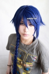 Code Geass Akito the Exiled Akito dark blue 95cm long braid layers cosplay wig