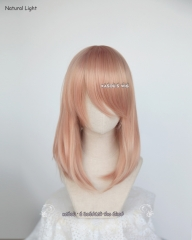 M-1 /  SP20 peach pink long bob cosplay wig. shouder length lolita wig suitable for daily use .